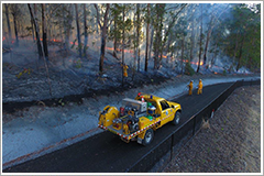 bushfire and firefighter